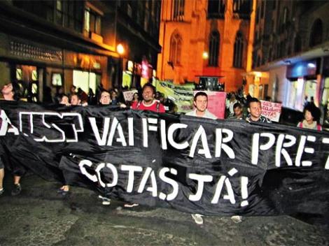 Manifestations pour l'application des quotas à  l'Universidade de São Paulo Crédit : PCO.
